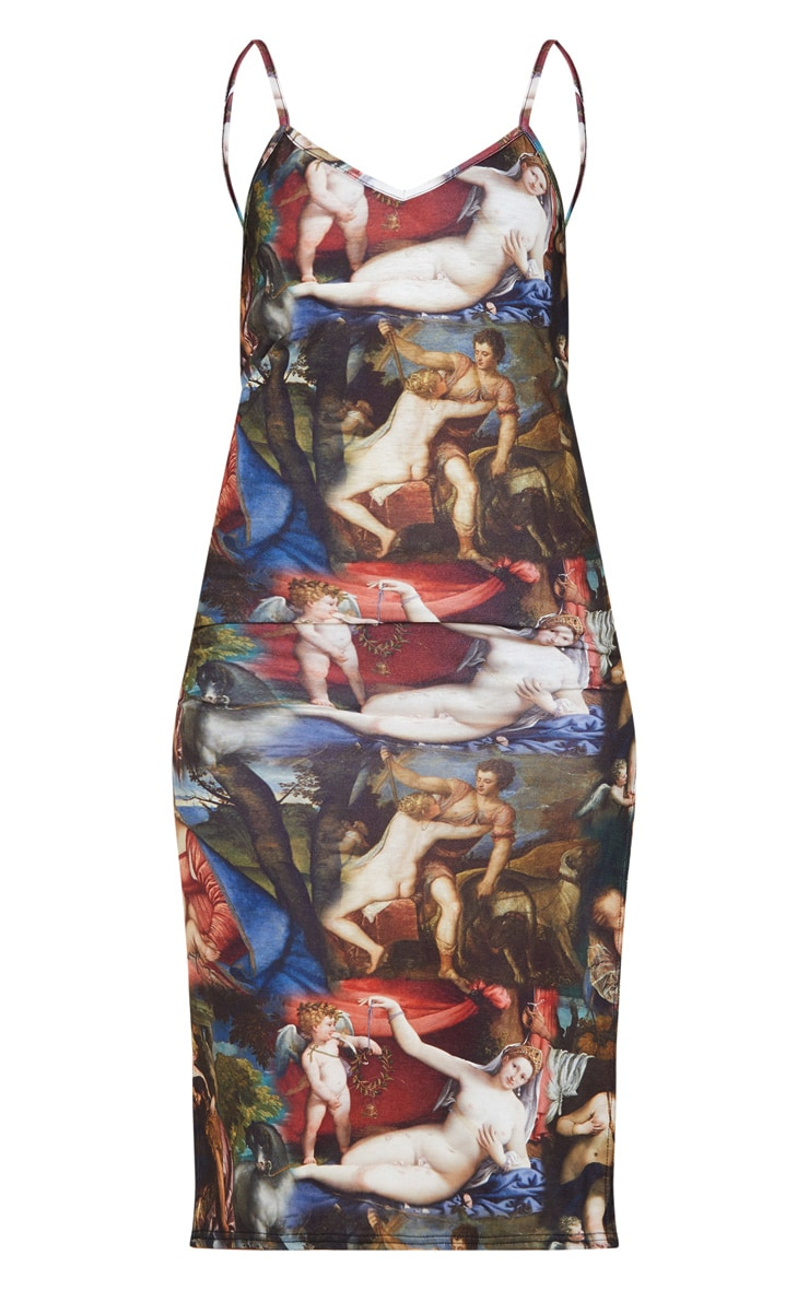 Brown Renaissance Print Jersey Split Cami Midi Dress 3