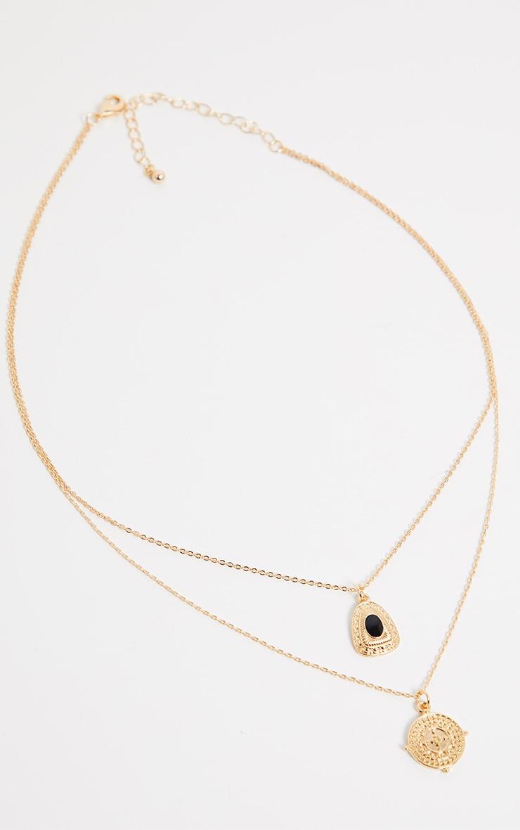 Gold Multi Pendant Locket And Black Gemstone Necklace 1