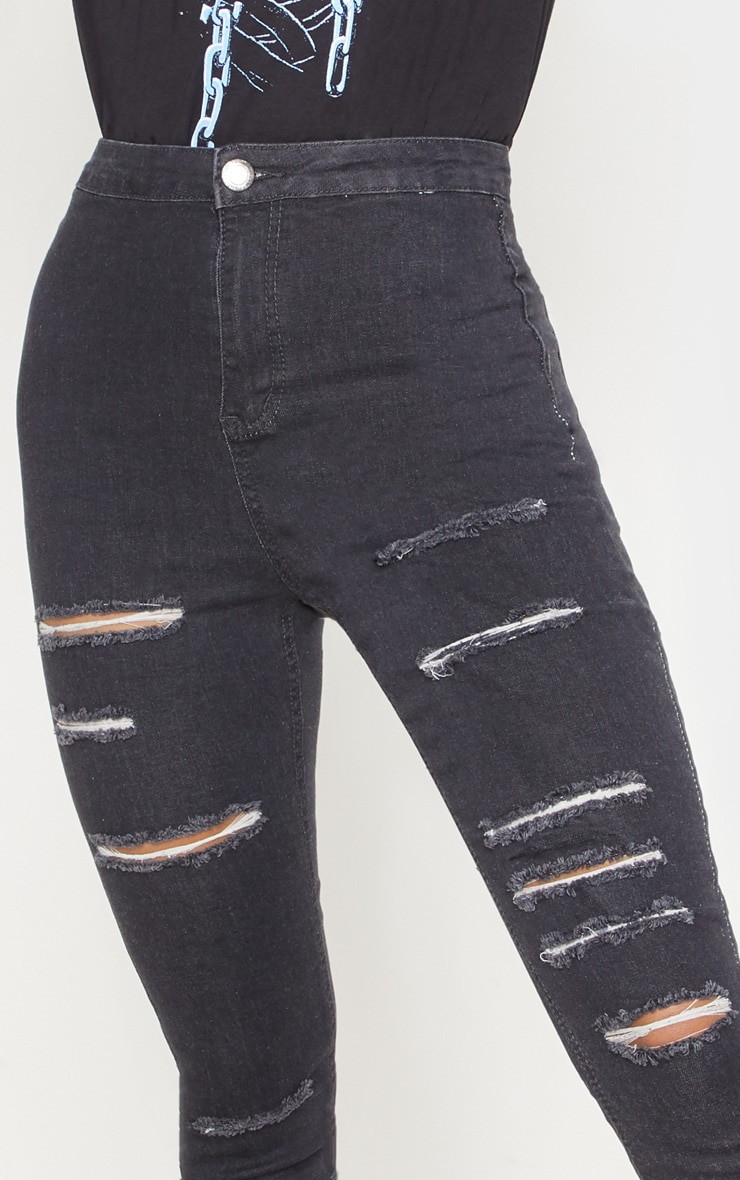 Grey Extreme Rip Disco Fit Skinny Jean  5