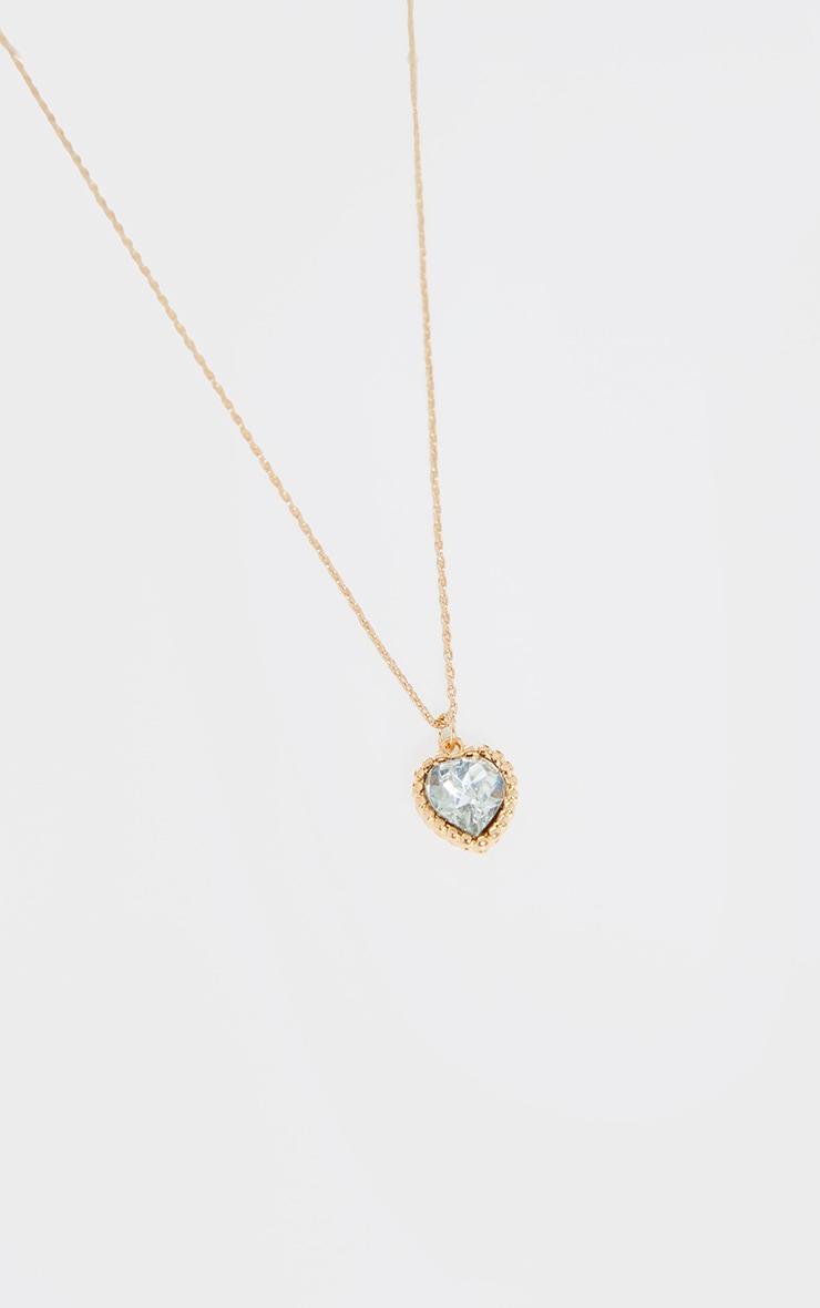 Gold Mini Diamante Heart Charm Necklace 4