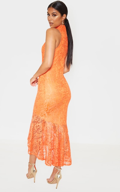 Bright Orange Lace High Neck Fishtail Midaxi Dress