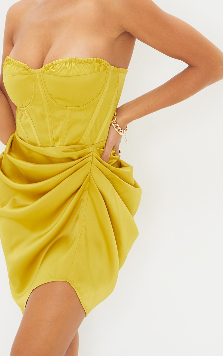 Light Lime Satin Bandeau Corset Detail Gathered Skirt Bodycon Dress 4