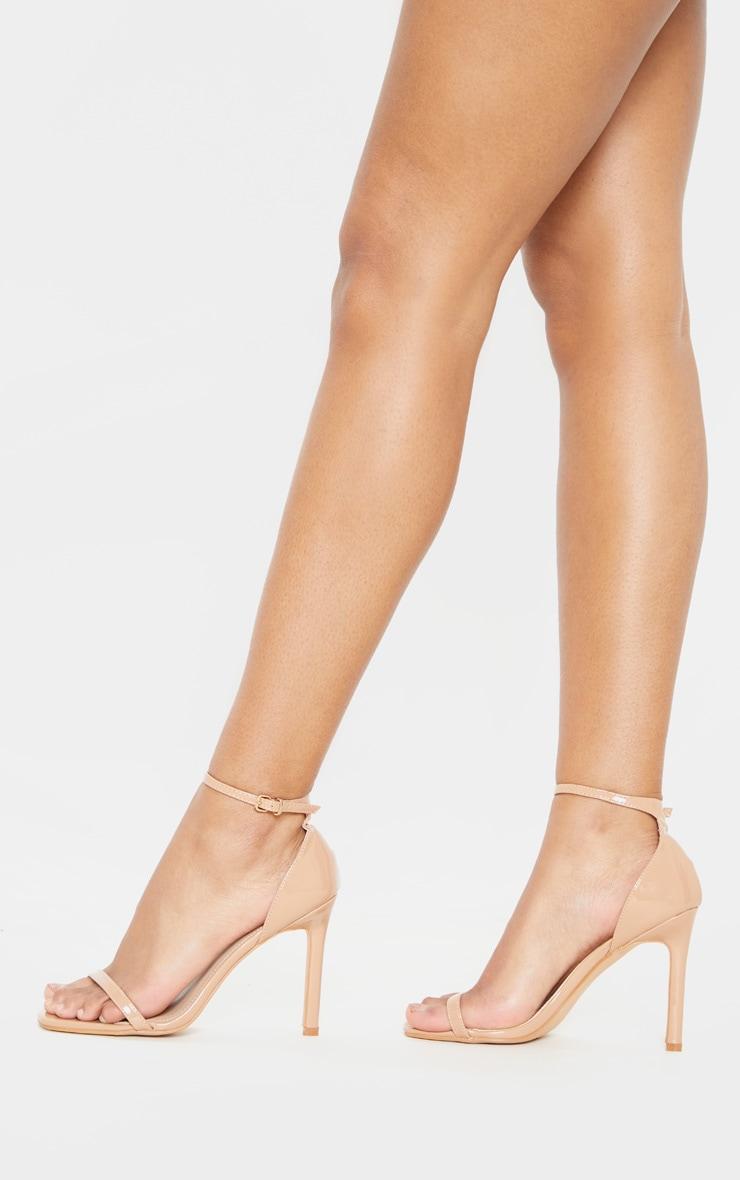 Mid Nude Thin Strap Square Toe Strappy Sandal 2