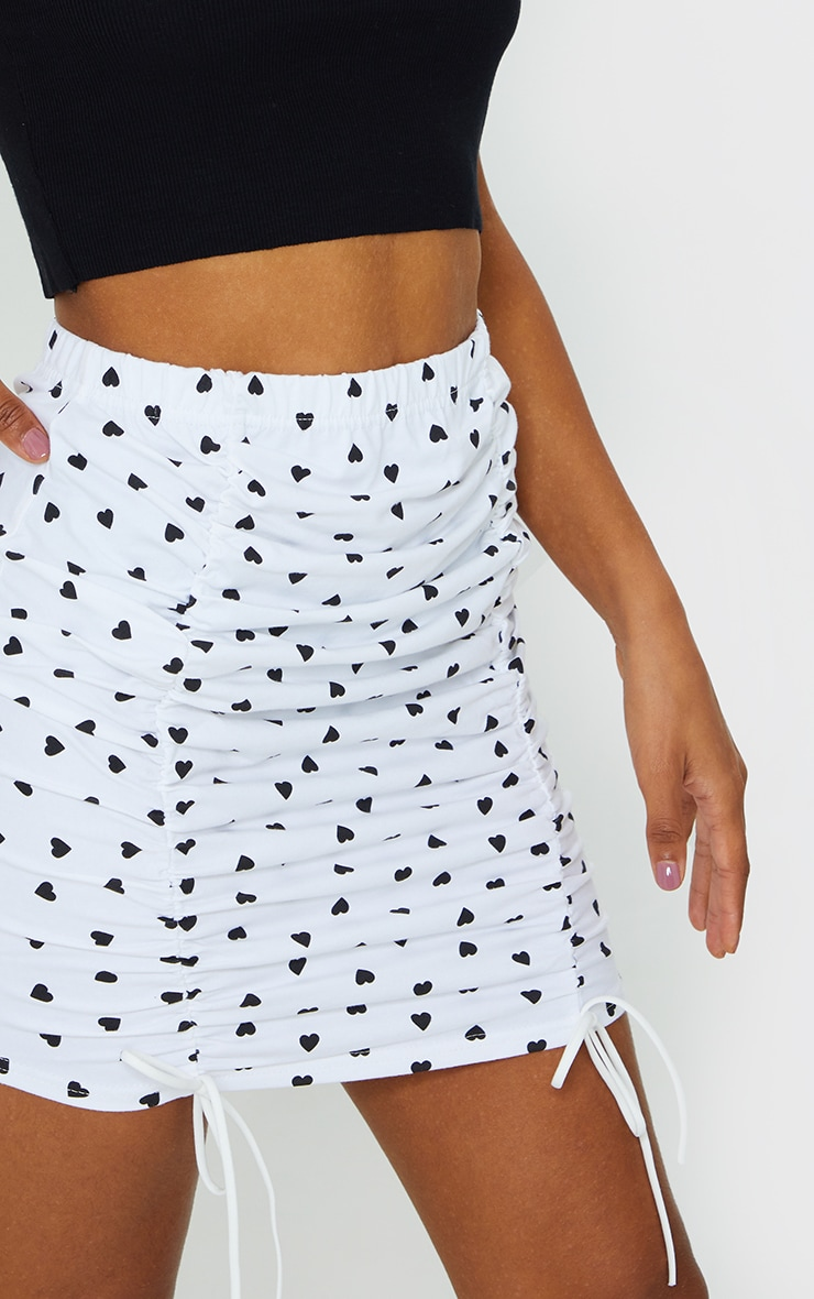 White Heart Ruched Detail Mini Skirt 5