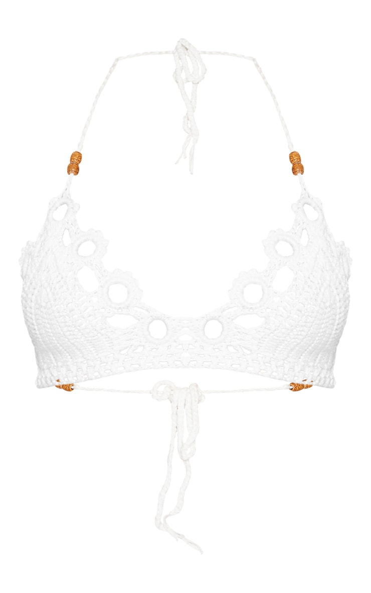 White Floral Crochet Knit Triangle Bikini Top 3