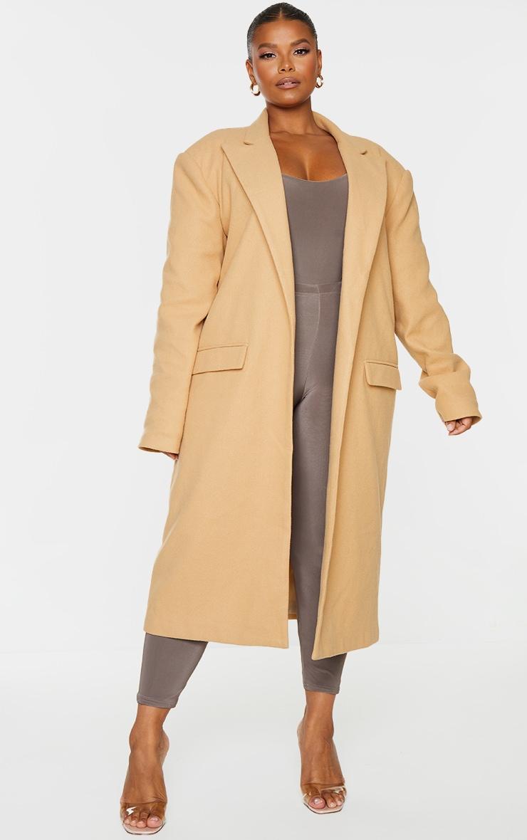 Plus Camel Oversized Shoulder Padded Coat 3