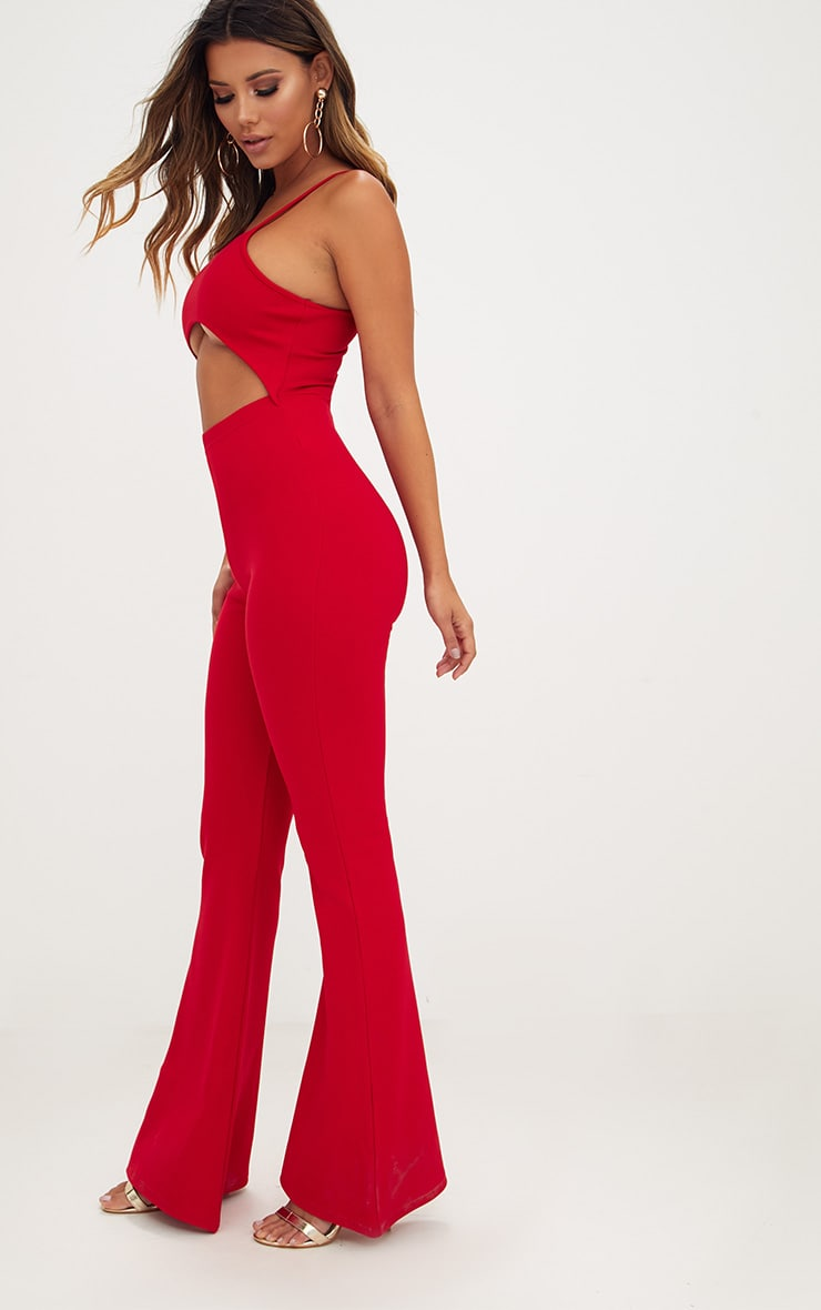 Red Open Middle Wide Leg Jumpsuit 4