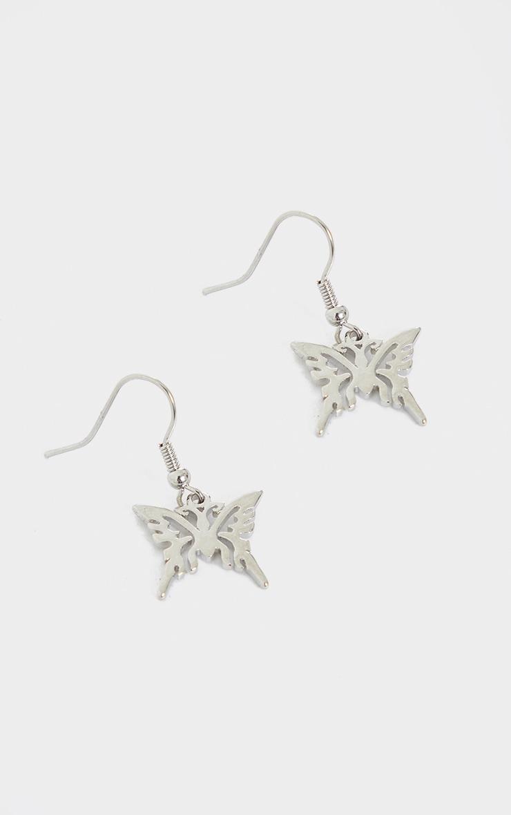 Silver Mini Cut Out Butterfly Earrings