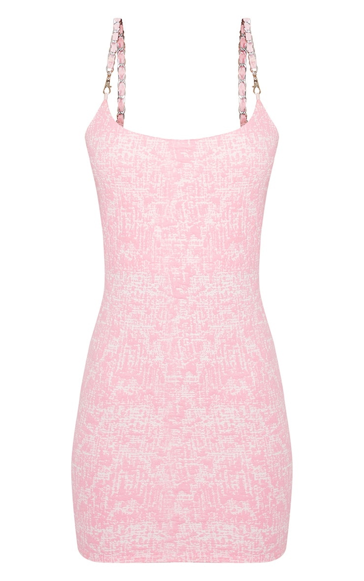 Pastel Pink Boucle Bodycon Dress 4