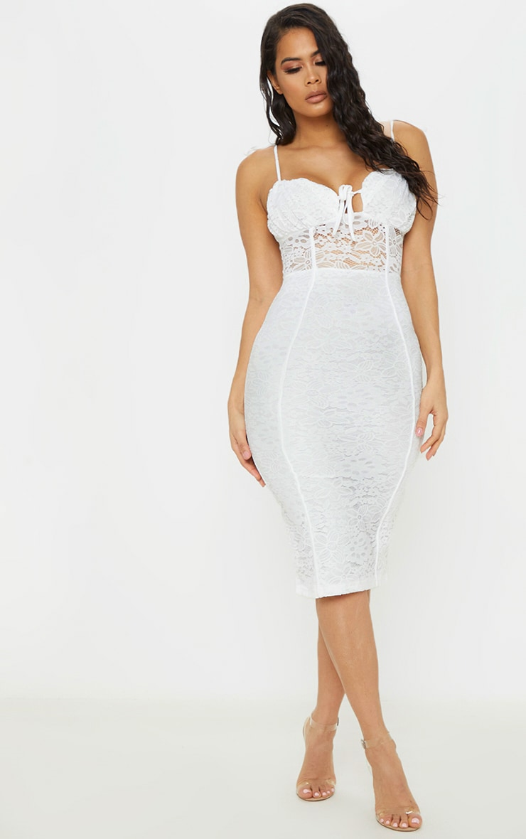 white lace ruched top midi dress