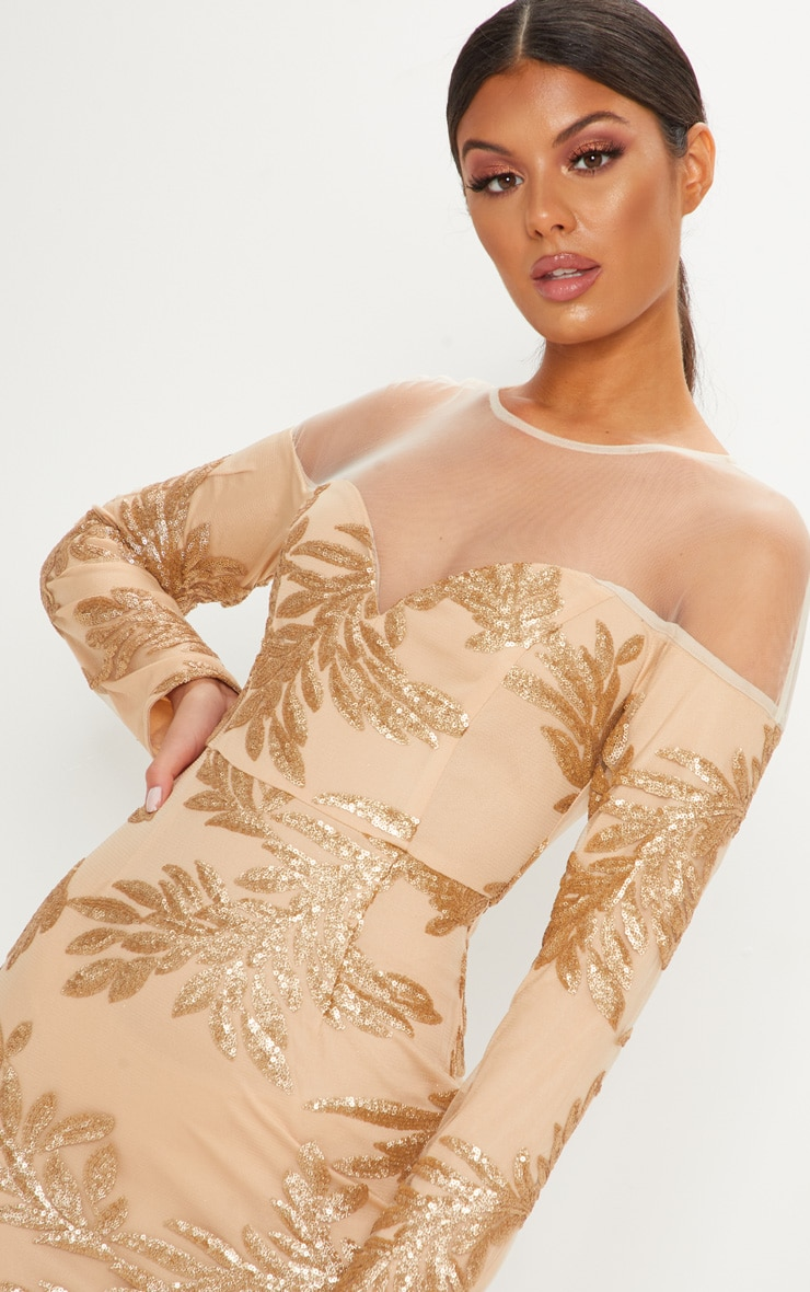 Gold Sequin Mesh Insert Midi Dress 5