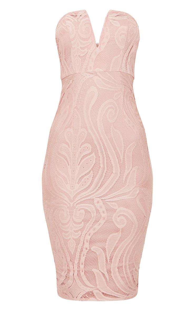 Dusty Pink Lace V Bar Bandeau Midi Dress 3