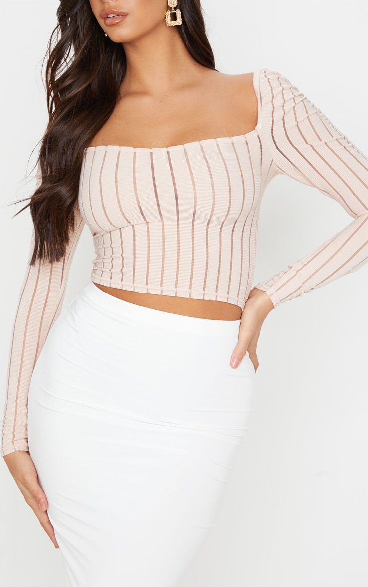 Nude Sheer Rib Ruched Shoulder Crop Top 5