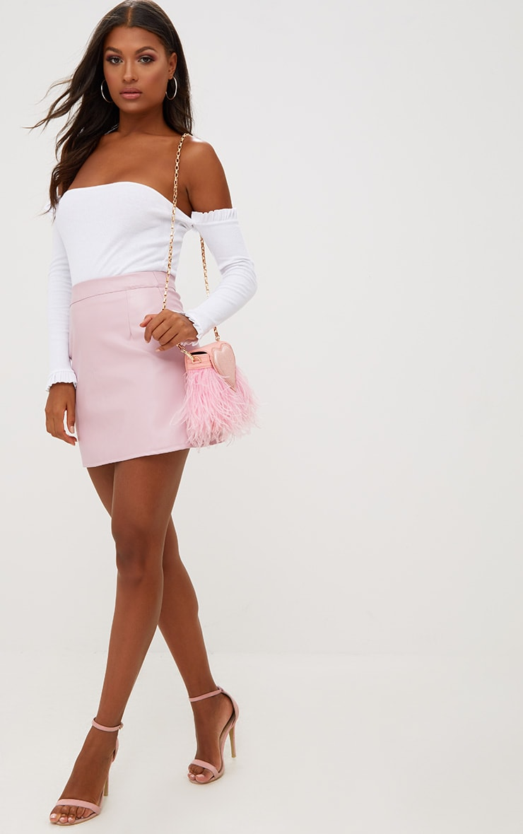 Rose Pink Faux Leather A-Line Mini Skirt 4
