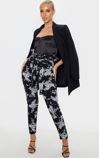 Black Floral Paperbag Skinny Trouser