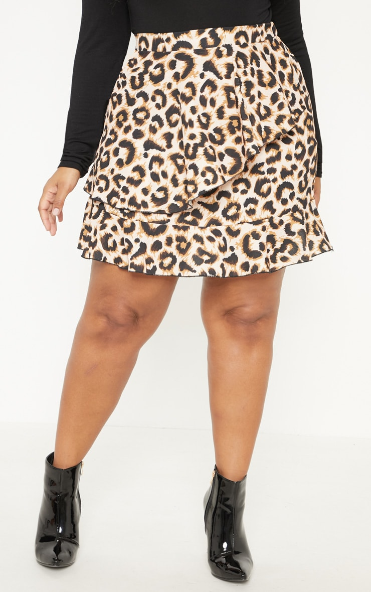 Plus Brown Leopard Print Frill Detail Mini Skirt  2