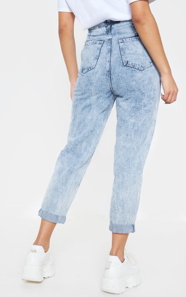 Mid Wash Turn Up Tie Waist Paperbag Jeans  4