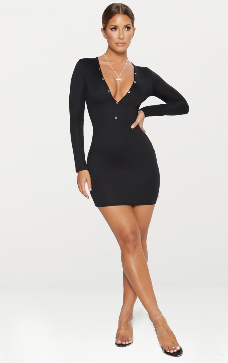 Black Ponte Button down Bodycon Dress 3