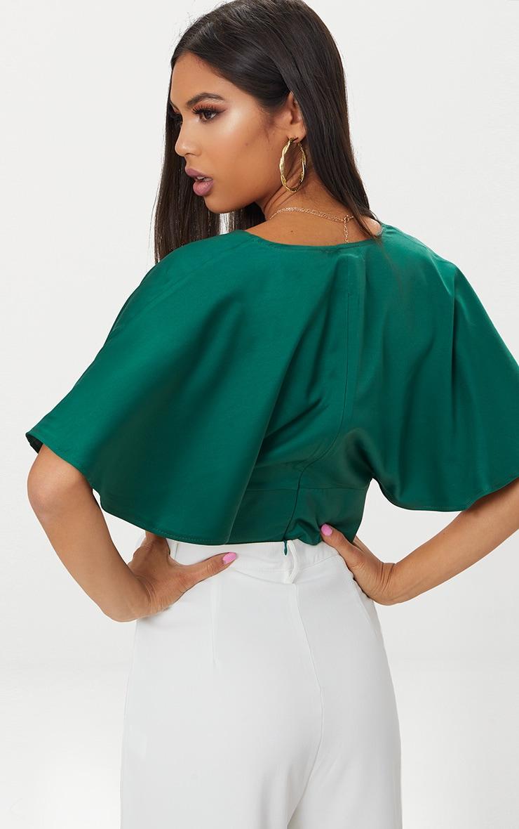 Emerald Green Satin Flare Sleeve Plunge Crop Top  2