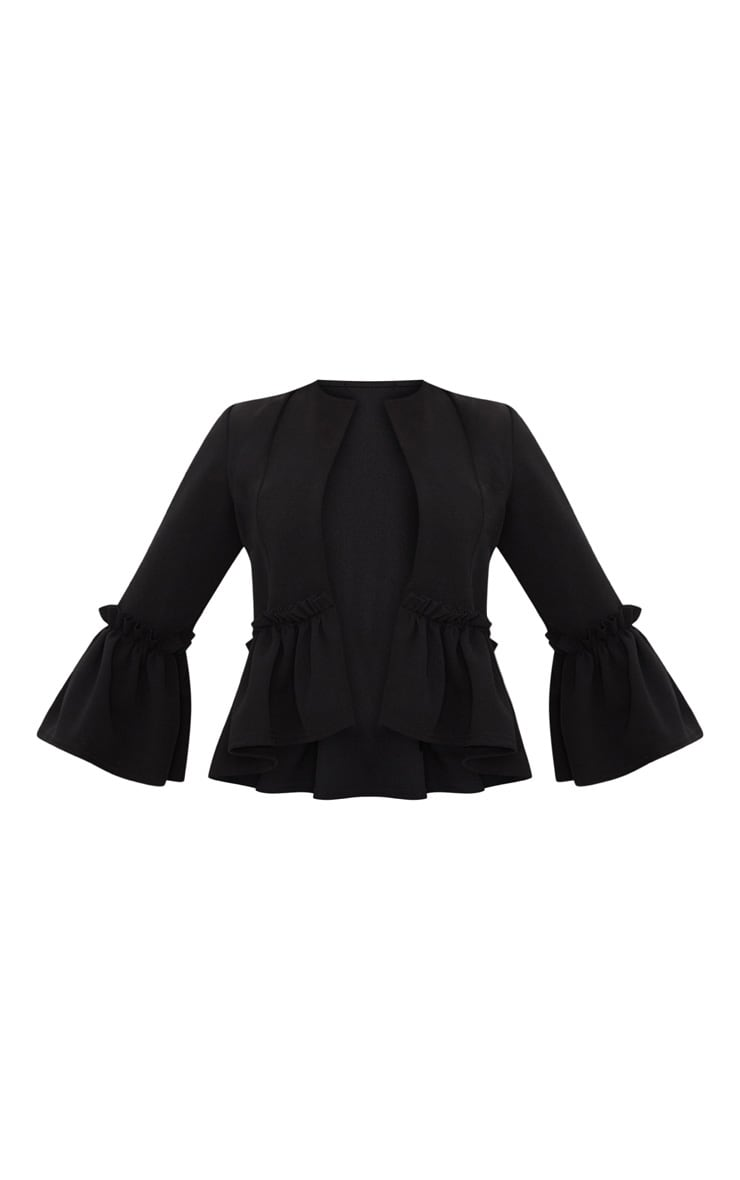 Black Frill Sleeve Blazer 4