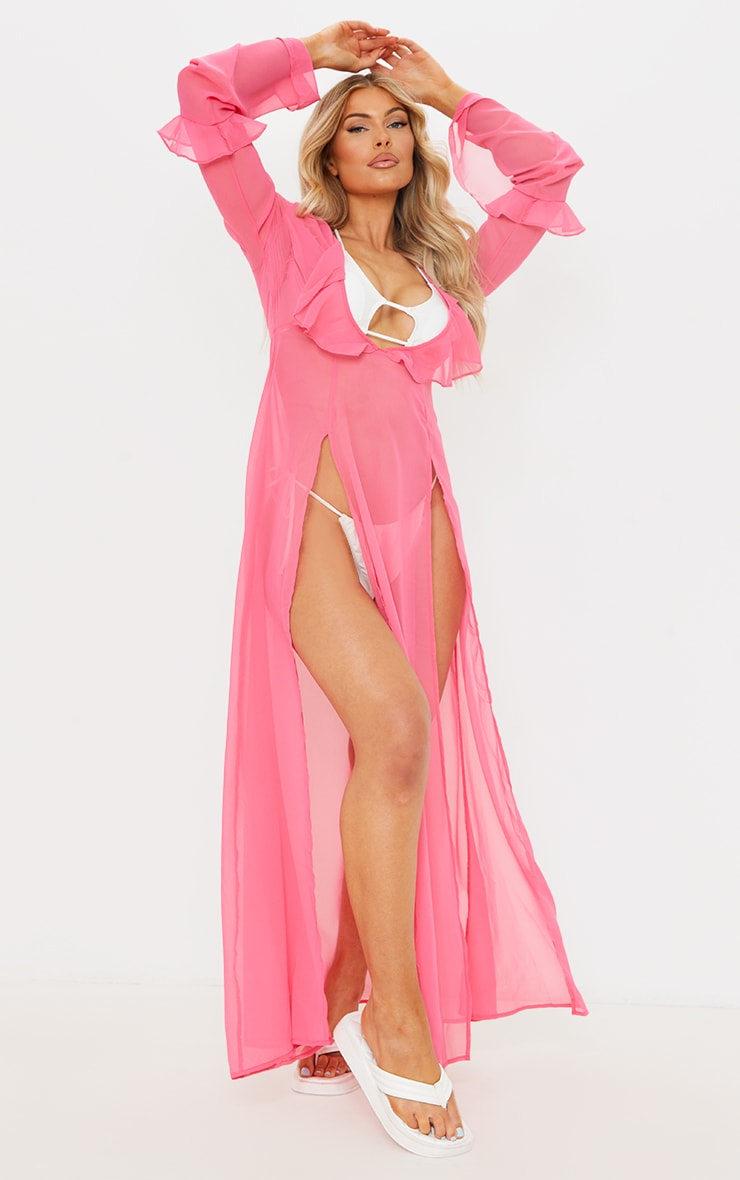 Pink Plunge Frilly Maxi Beach Dress 1