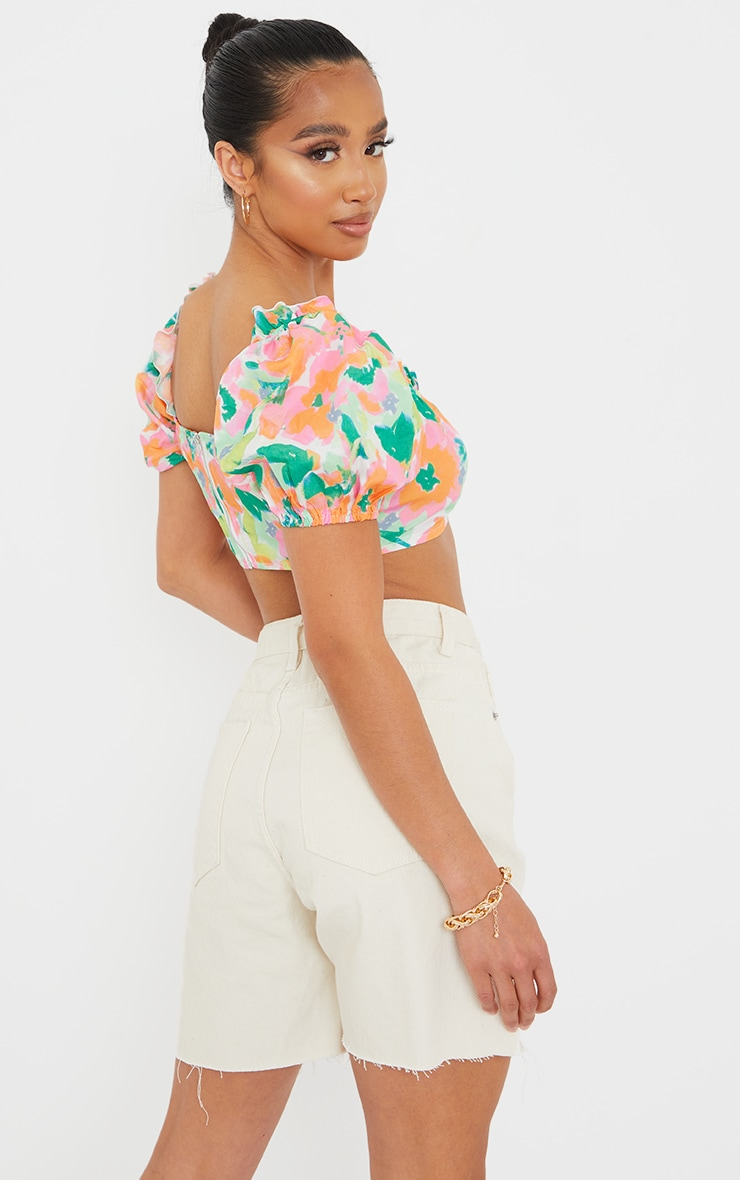 Petite Floral Ruched Detail Cropped Blouse 2