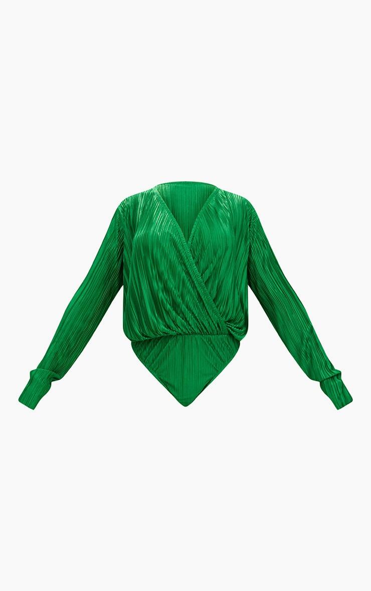 Jewel Green Plisse Wrap Thong Bodysuit 3