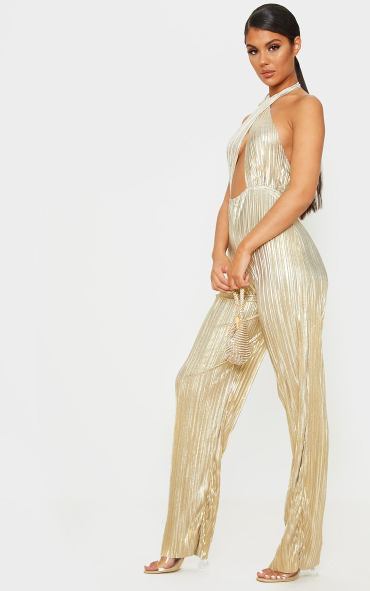 Gold Plisse Halterneck Wide Leg Jumpsuit 5