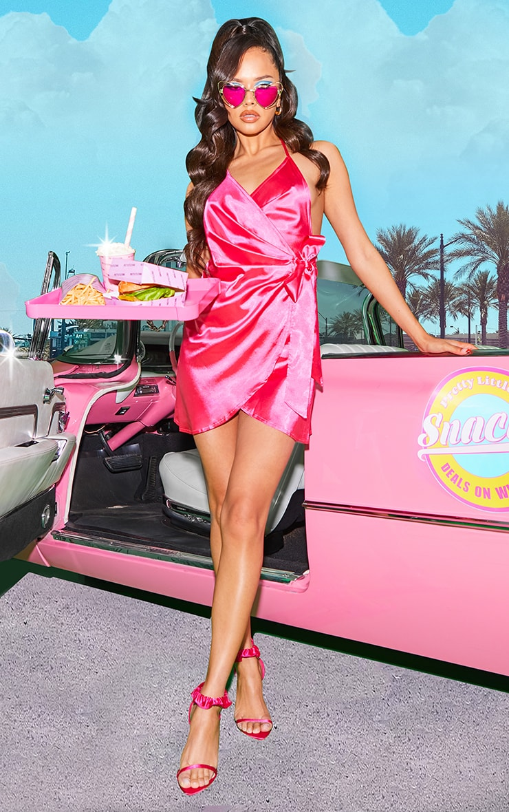 Hot Pink Satin Halterneck Wrap Bodycon Dress 1