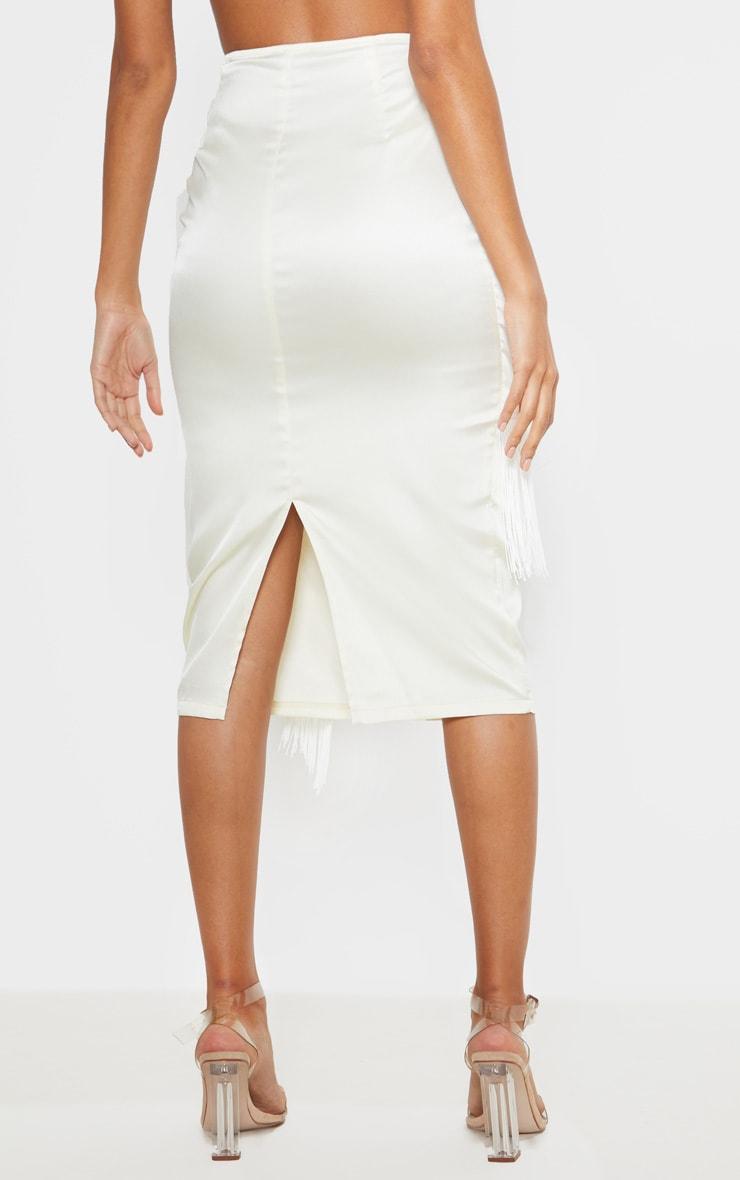 Cream Satin Fringe Trim Tie Wrap Midi Skirt  4