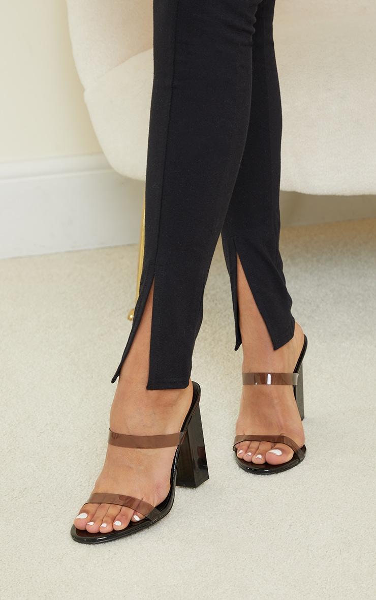 Black Binding Detail Split Hem Cotton Jumpsuit 4