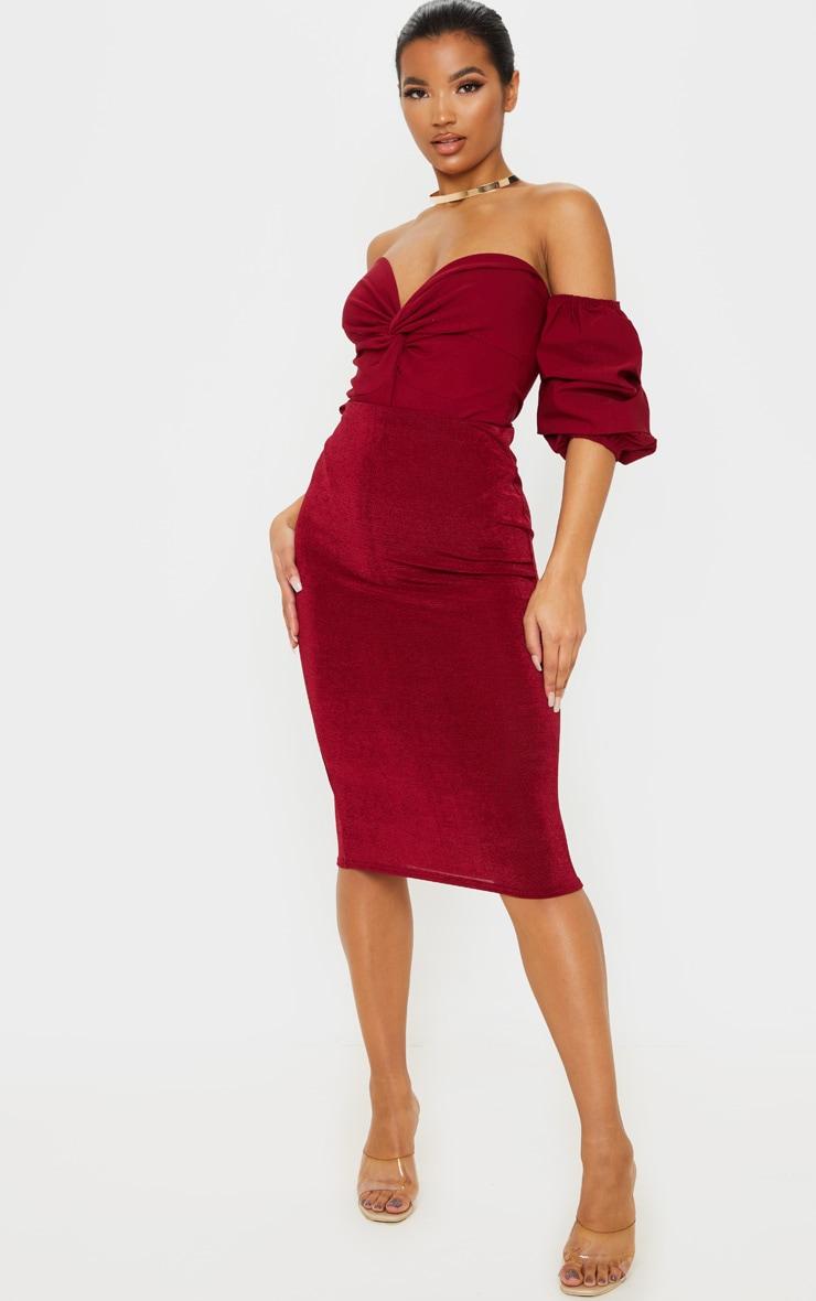 Scarlet Woven Bardot Ruched Bodysuit 5