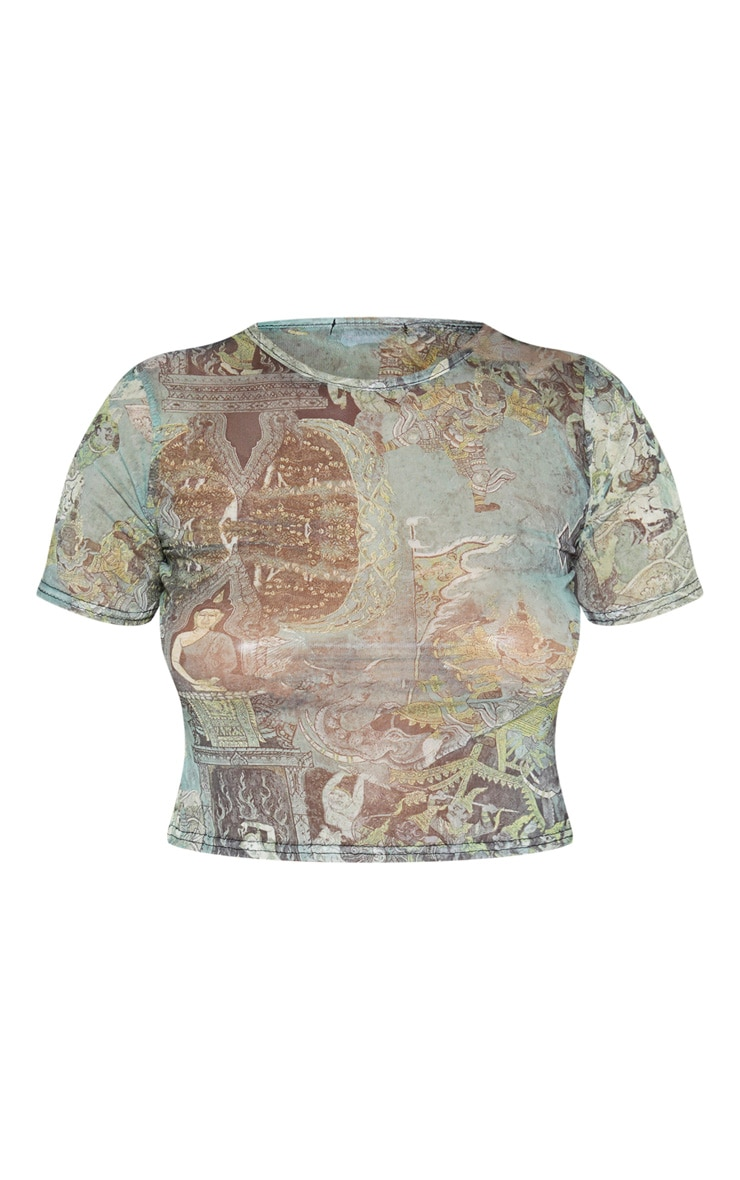 Green Oriental Printed Short Sleeve T Shirt 3