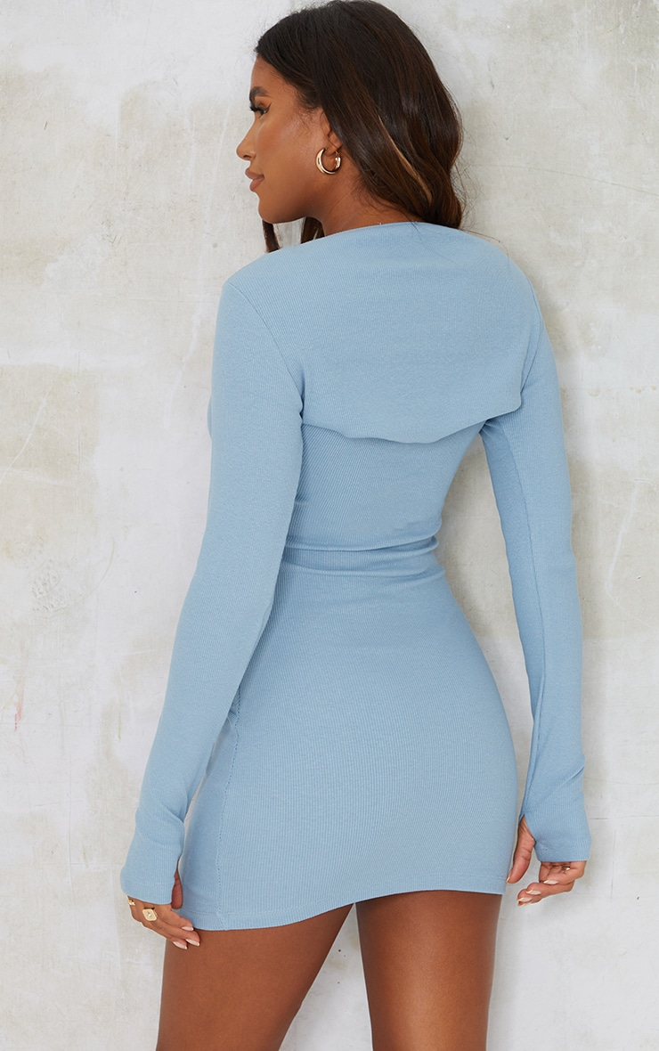 Steel Blue Rib Scoop Neck Mini Dress 2