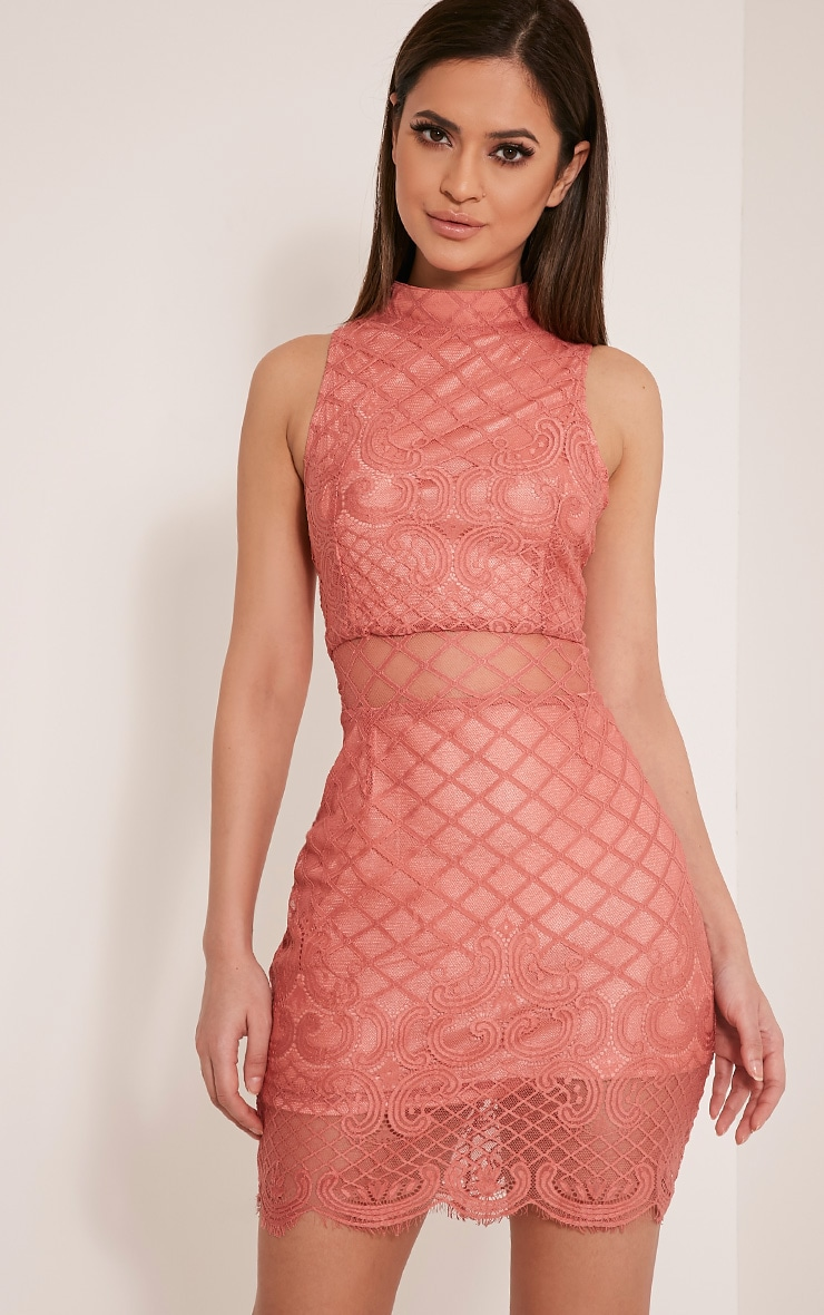 Aura Rose Lace Up Back Bodycon Dress 1