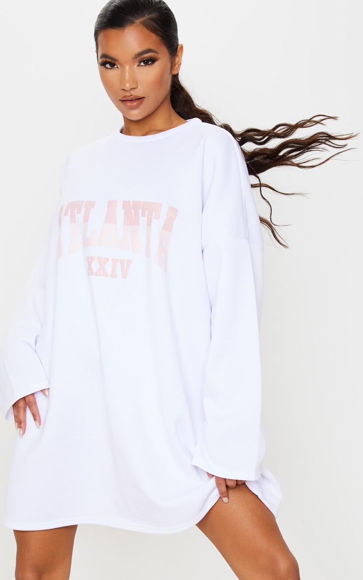 White Atlanta Slogan Oversized Jumper Dress 2
