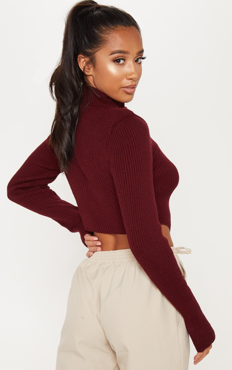 Petite Burgundy High Neck Curve Hem Sweater 2