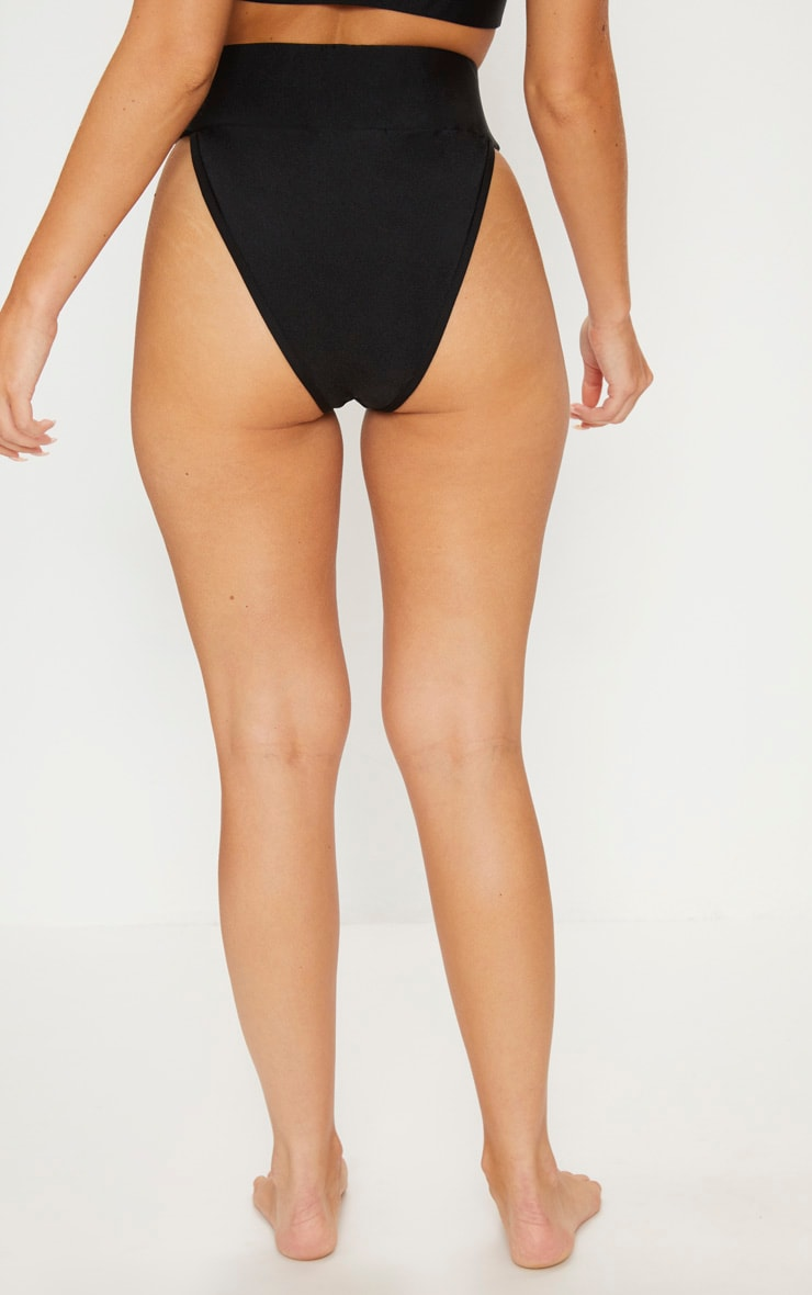 Black Deep Elasticated High Waist Bikini Bottom 4