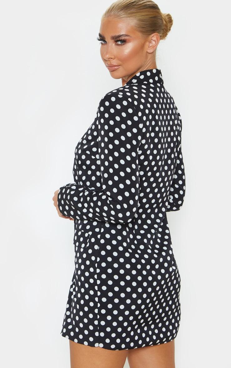 Black Polka Dot Gold Button Blazer Dress 2