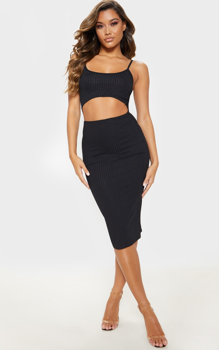 Black Ribbed Cut Out Strappy Midi Dress