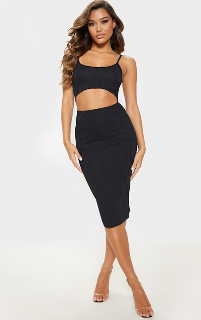 53a02de3df0 Black Ribbed Cut Out Strappy Midi Dress
