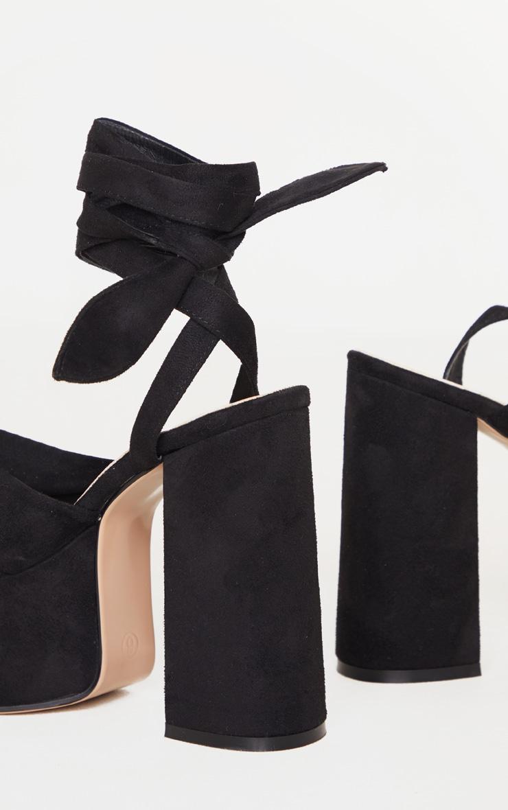 Black Knot Tie Ankle Strappy Platform Sandal 4