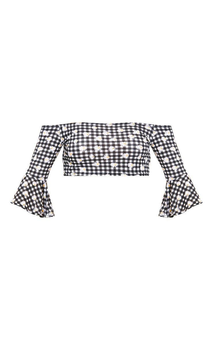 Black Daisy Gingham Print Bardot Crop Top 3