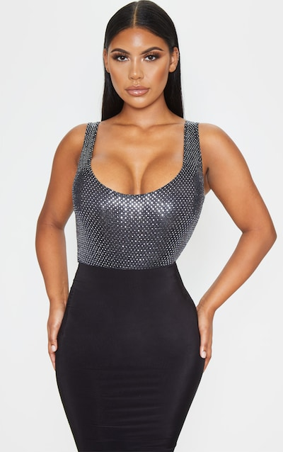Silver Sequin Strappy Bodysuit