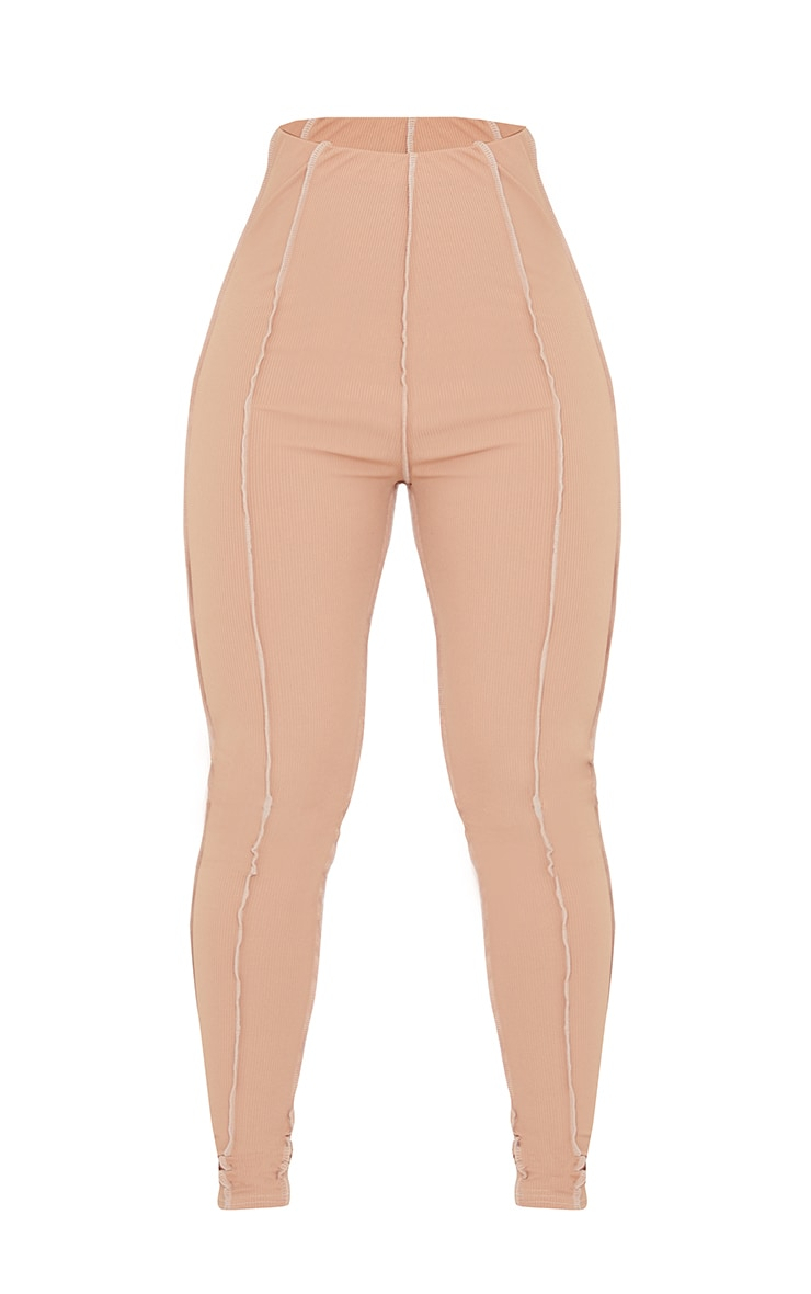 Nude Contrast Slinky Seam Detail Leggings 5
