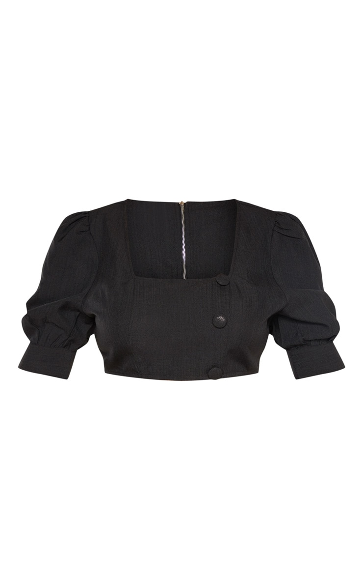 Plus Black Woven Square Neck Puff Sleeve Crop Top 3