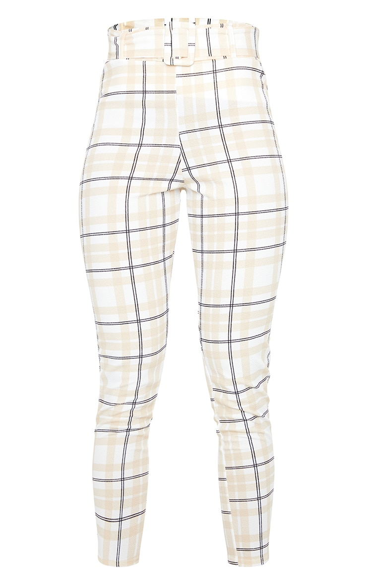 White Check Belted Skinny Pants 5