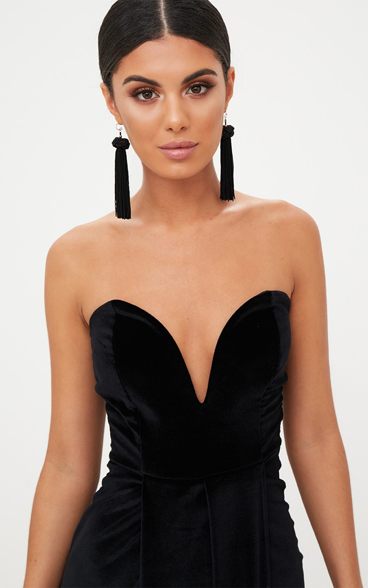 Black Velvet Draped Wrap Detail Bandeau Maxi Dress 5