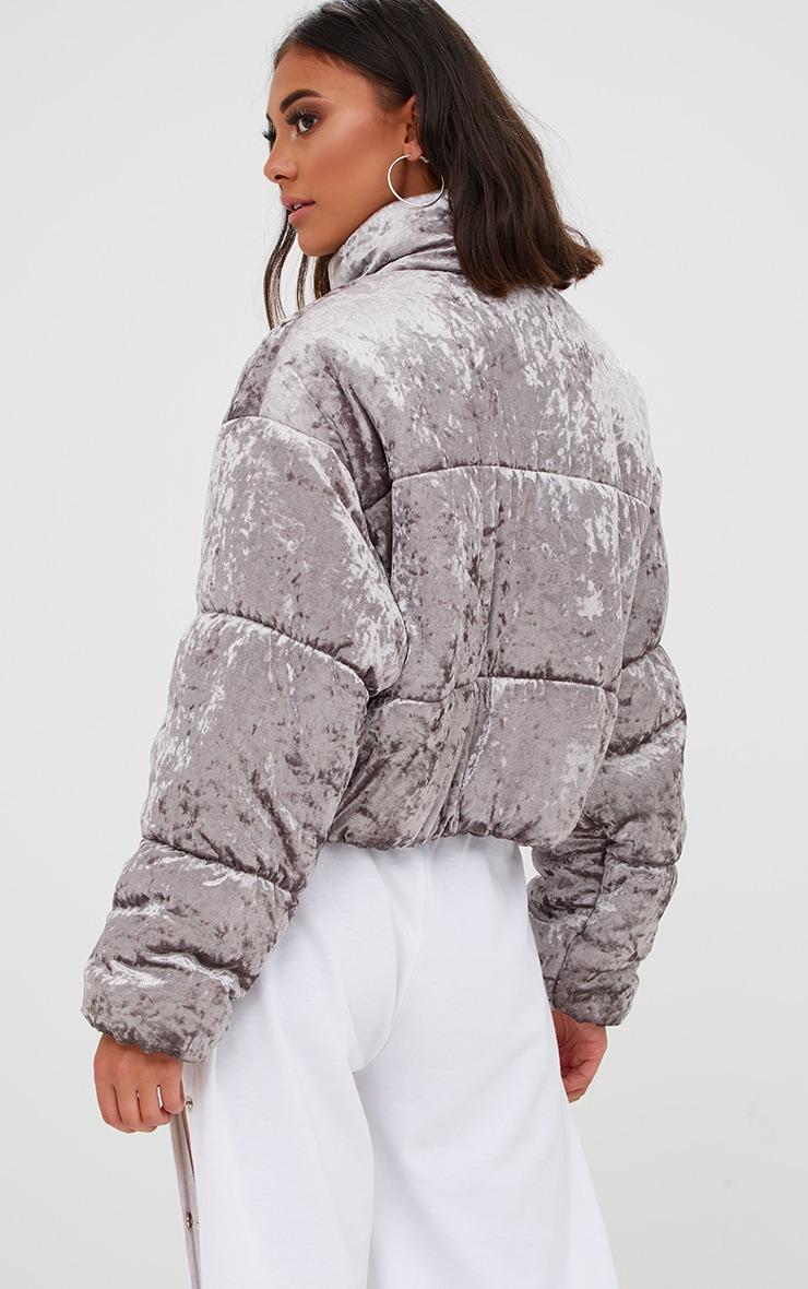 Grey Velvet Cropped Puffer Coat 2
