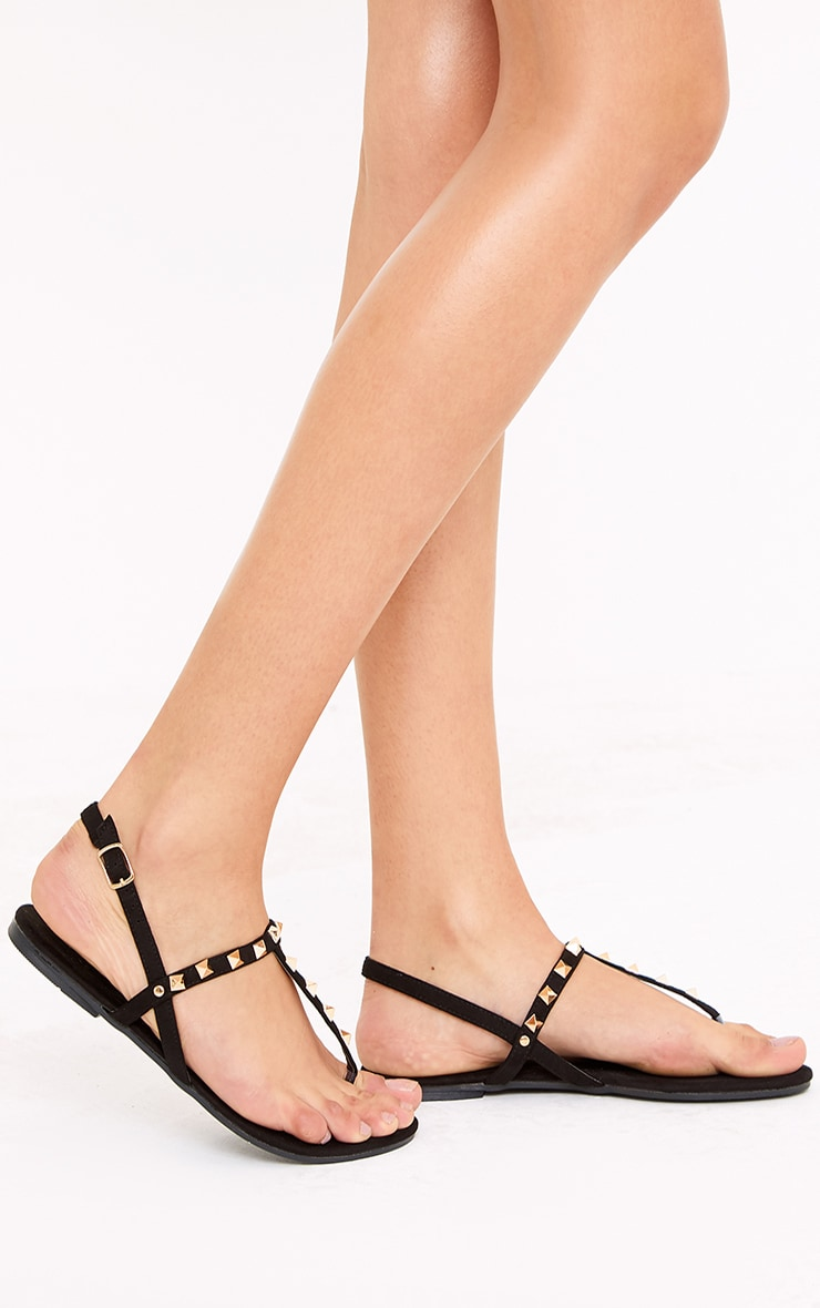 Jacques Black Studded Sandals 1